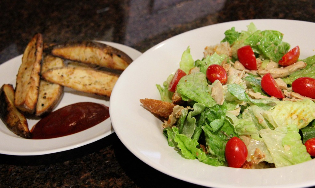 "Vegan ""Chicken"" Caesar Salad with Oven Fries"