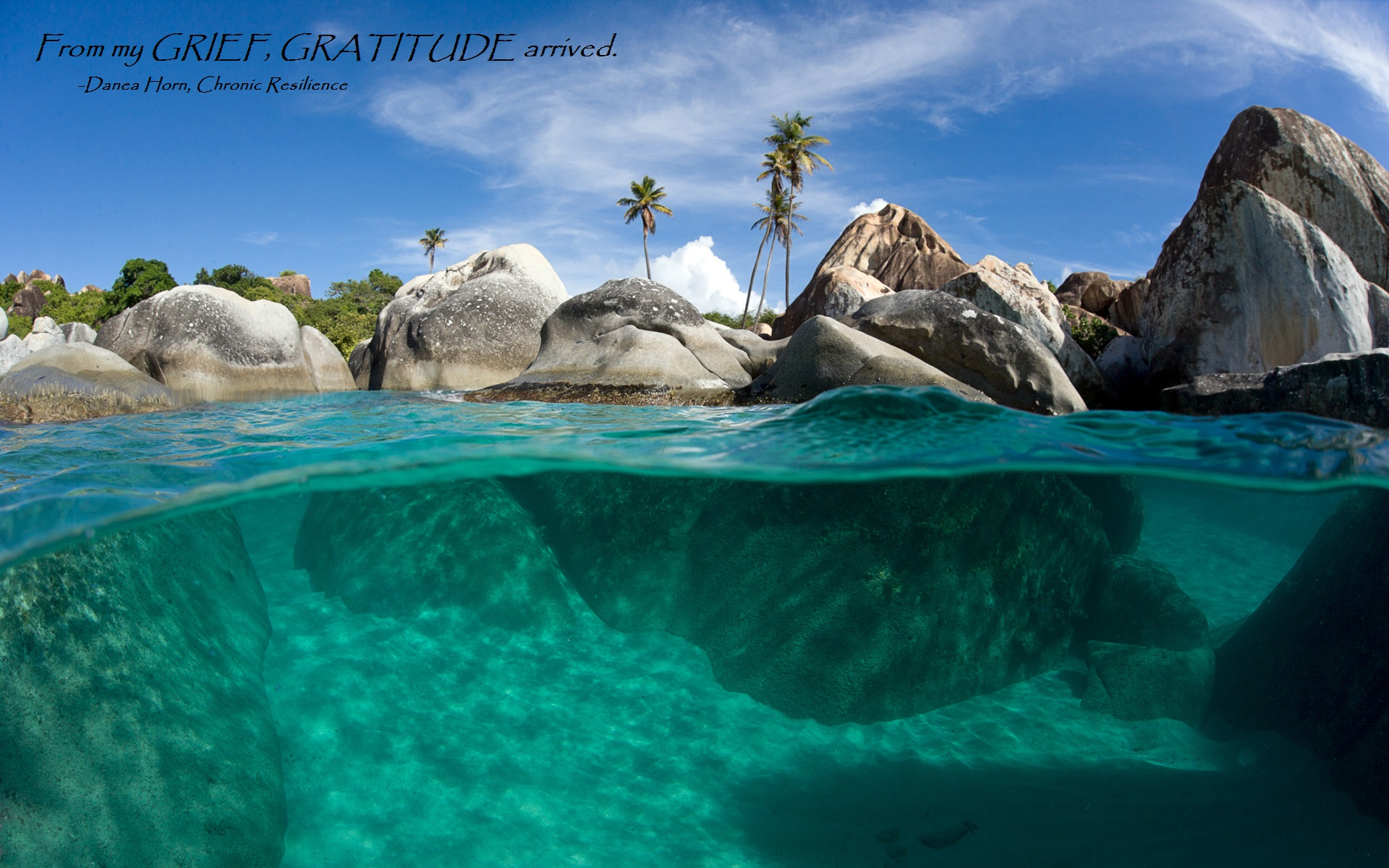 Underwater split view with turquoise waters, palm trees and giant rocks, The Baths, Virgin Gorda, British Virgin Islands, Caribbean